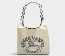 Handtasche Shopper Crest Medium aus Stoff und und schwarzem Leder