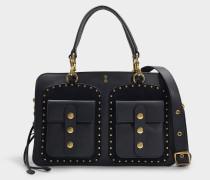 Exklusivität - Handtasche Prestyn Dreamer 36 Satchel aus schwarzem Kalbsleder
