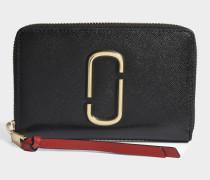 Snapshot Small Stundard Geldbörse aus schwarzem und Chianti Split Kuhleder