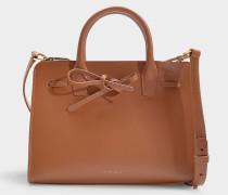 Handtasche Mini Sun aus braunem Kalbsleder