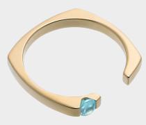 Ring in 9K Gelbgold mit Aqua blauemmarinSchmucksteinen