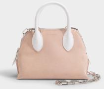 Mini Magot Two Fabric Bag aus rosa und weißem Kalbsleder