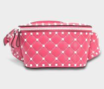 Free Rockstud Spike Small Belt Tasche aus Shadow rosanem Nappaleder