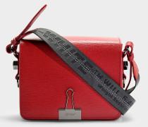 Handtasche mit Taschenklappe Flap aus rotem Kalbsleder