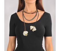 Choker Halskette aus elfenbeinfarbenem Stoff und Strass