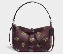Chelsea Crossbody Tasche aus Oxblood Cross Stitch Floral Kalbsleder