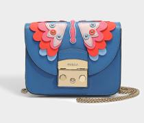 Mini Handtasche Metropolis Papillons aus blauem Kalbsleder