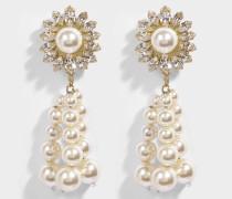 Palermo Crystal Ohrringe aus weißem Messing, Swarowskisteinen und Perlen