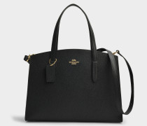 Charlie Carryall in Black Polished Pebble Leather