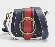 Tasche Crossbody Lennox Medium aus blauem, rotem und weißem Kalbsleder