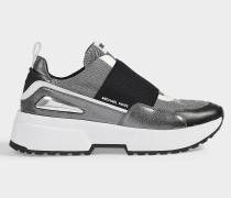 Sneaker Cosmo Slip On aus Metallic Leder und aus silbernen Metallic Maschen