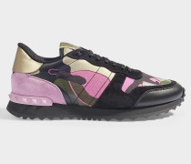Camoflague Sneakers in Black and Pink Calfskin