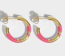 Positano Mini Hoop Ohrringe aus Pivoine und 18K vergoldetem Messing