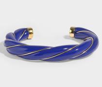 Armband Diana Twisted aus vergoldetem Messing in Marineblau