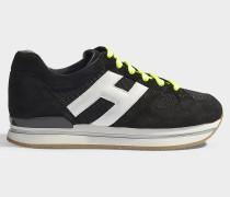 Sneaker H222 mit Schnürbändern Neon aus schwarzem, weißem und neonfarbenem Leder