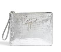 Elettra Clutch Tasche aus silbernem Leder