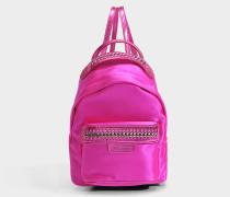 Satin Falabella Go Mini Backpack aus Fuchsia farbenem Eco Material
