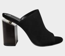 Avery High Heel Sandalen aus schwarzem Ziegenleder