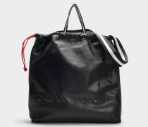 Großer Shopper Drawstring Ransack aus schwarzem Kalbsleder