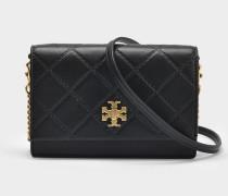 Georgia Turn-Lock Mini Tasche aus schwarzem Leder