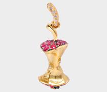 Fine Jewellery Halskette - 18K Gold Mini Apple Core mit Rubinen & Diamanten