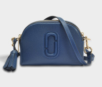 Handtasche Shutter aus blauem Kalbsleder