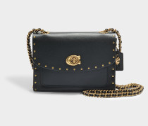 Border Rivets Parker 18 Shoulder Bag in Black Calfskin