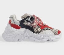 Sneaker Oversized Billy aus beigem und rotem Kalbsleder