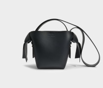 Musubi Mini Tasche aus schwarzem Kalbsleders- und Lammleder