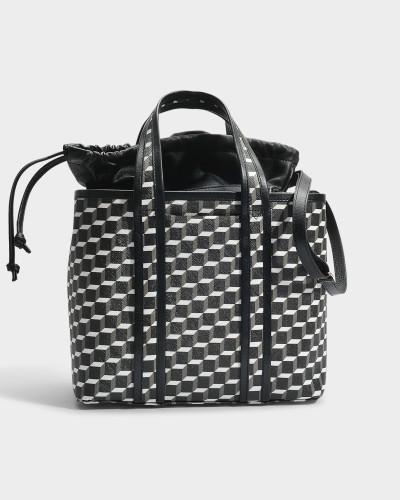 Tote Bag aus schwarzem und weißem Cube Canvas und Kalbsleder
