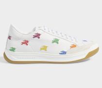 Bestickte Sneaker Timsbury aus weißem, genarbtem Kalbsleder
