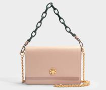 Kira Shoulder Bag aus sandfarbenem und grünem Danubio Soft