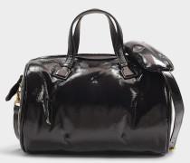 Handtasche Chubby Barrel aus schwarzem Kalbsleder