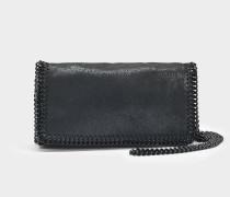 Shaggy Deer schwarzem Chain Falabella Clutch Tasche aus schwarzem Öko Leder