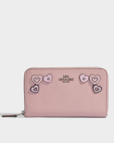 Portemonnaie mit Reißverschluss Medium aus altrosa Kalbsleder