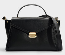 Whitney Large Top Handle Satchel in Black Calfskin