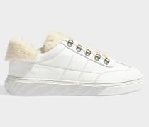 Sneaker H365 mit Fake Fur Details aus glattem, weißem und beigem Kalbsleder