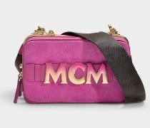Mini Handtasche Cubism Suede aus lila Kalbsleder