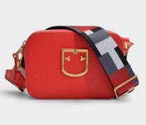 Mini Tasche Crossbody  Brava aus rotem Kalbsleder