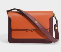 Handtasche Trunk aus orangem, roten und beigen Leder