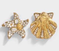 Tribute Trésor De La Mer asymetrische Ohrringe aus Schmucksteinen Messing