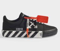 Flache Sneaker mit Streifen Vulcanised aus schwarz-weißer Baumwolle und Gummi
