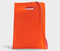 Hand Carry Plastic Bag aus Orange Fluo Synthetik Leder