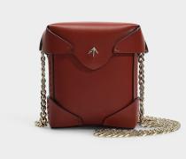 Micro Handtasche Pristine mit Kettenriemen aus rotem Kalbsleder