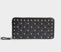 Rockstud Spike Zip Around Continental Geldbörse aus schwarzem Nappaleder