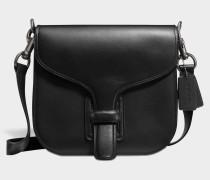 Courier Crossbody Tasche aus schwarzem Kalbsleder