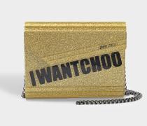 I Want Choo Cindy Clutch Tasche aus goldfarbenem Glitzer Acryl