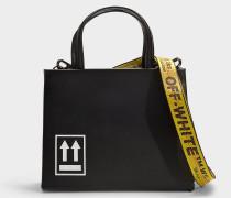 Kleine Handtasche Box aus schwarzem und weißem Kalbsleder
