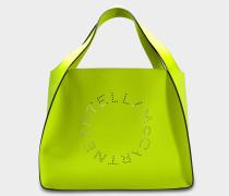 Alter Nappaleder Fluo Tote Stella Logo Tasche aus Neon gelbem Öko Leder