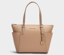 Jet Set Item East/West Top Zip Tote Bag in Truffle Grained Calfskin